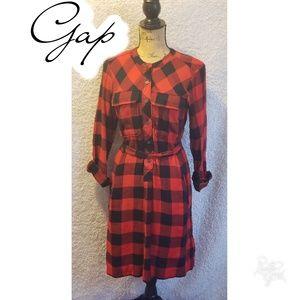 Plaid Gap button up belted dress sz small